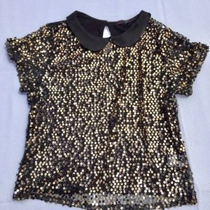 Black and Gold Sequin Top